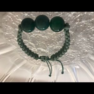 Natural Green Jade Glass Rope Necklace
